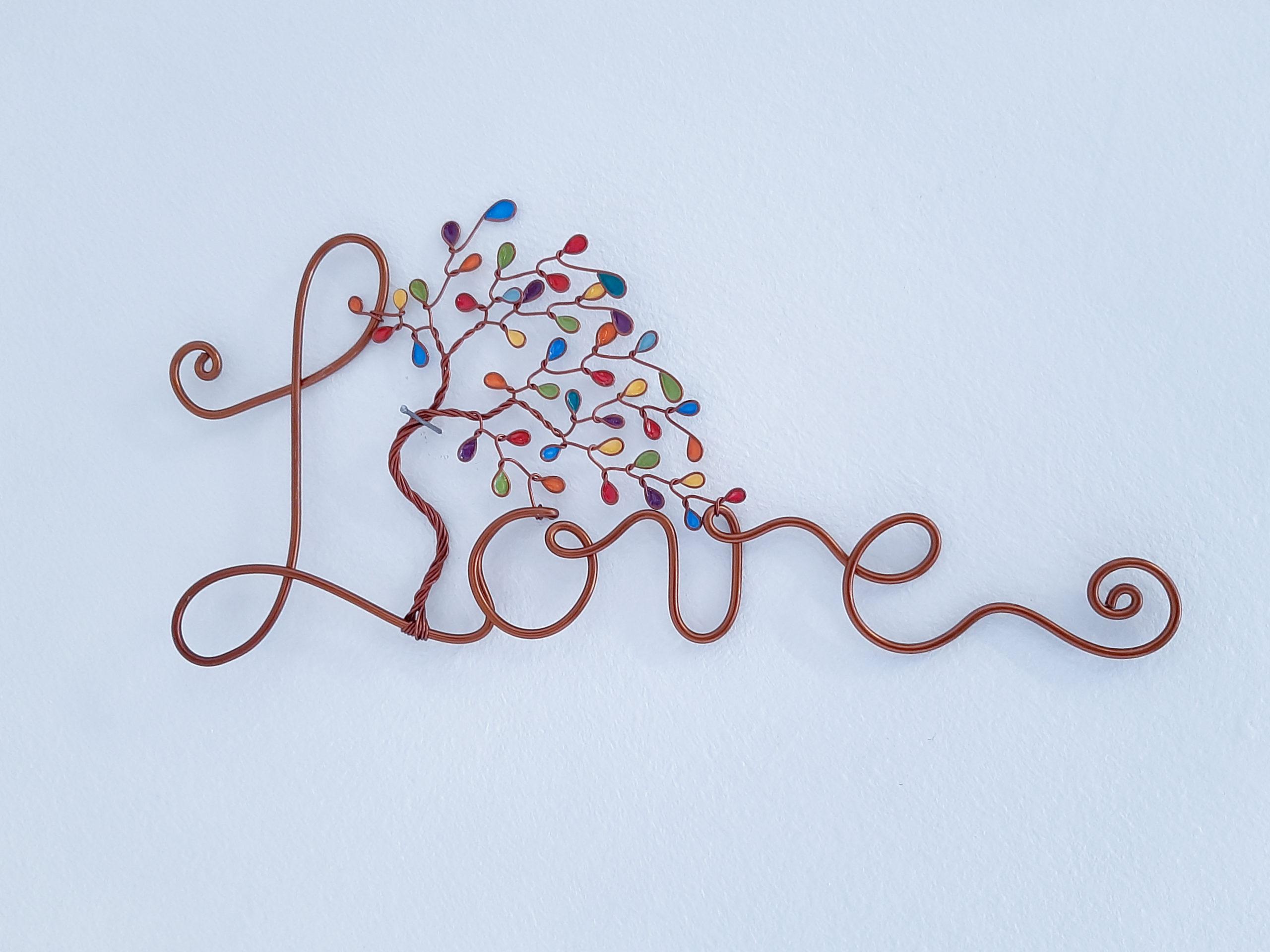 """""""Love"""" cuivré – Feuilles multicolore"""