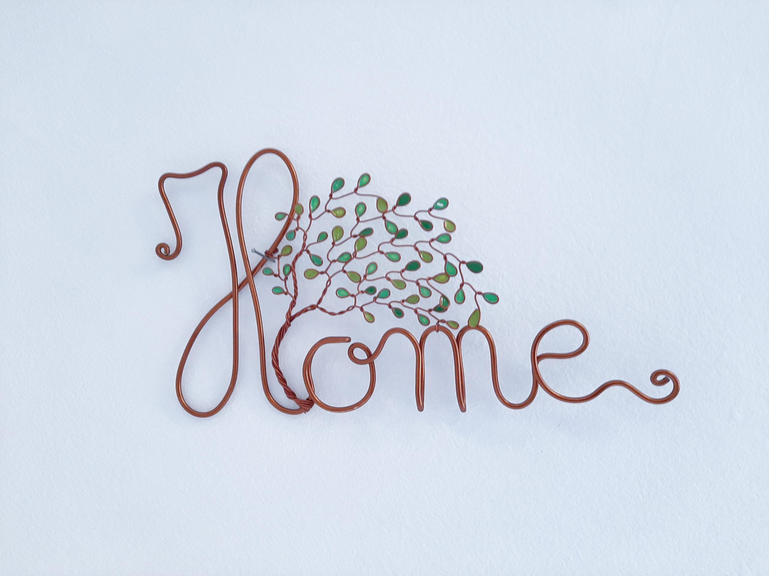 """""""Home"""" cuivré – Feuilles vertes"""