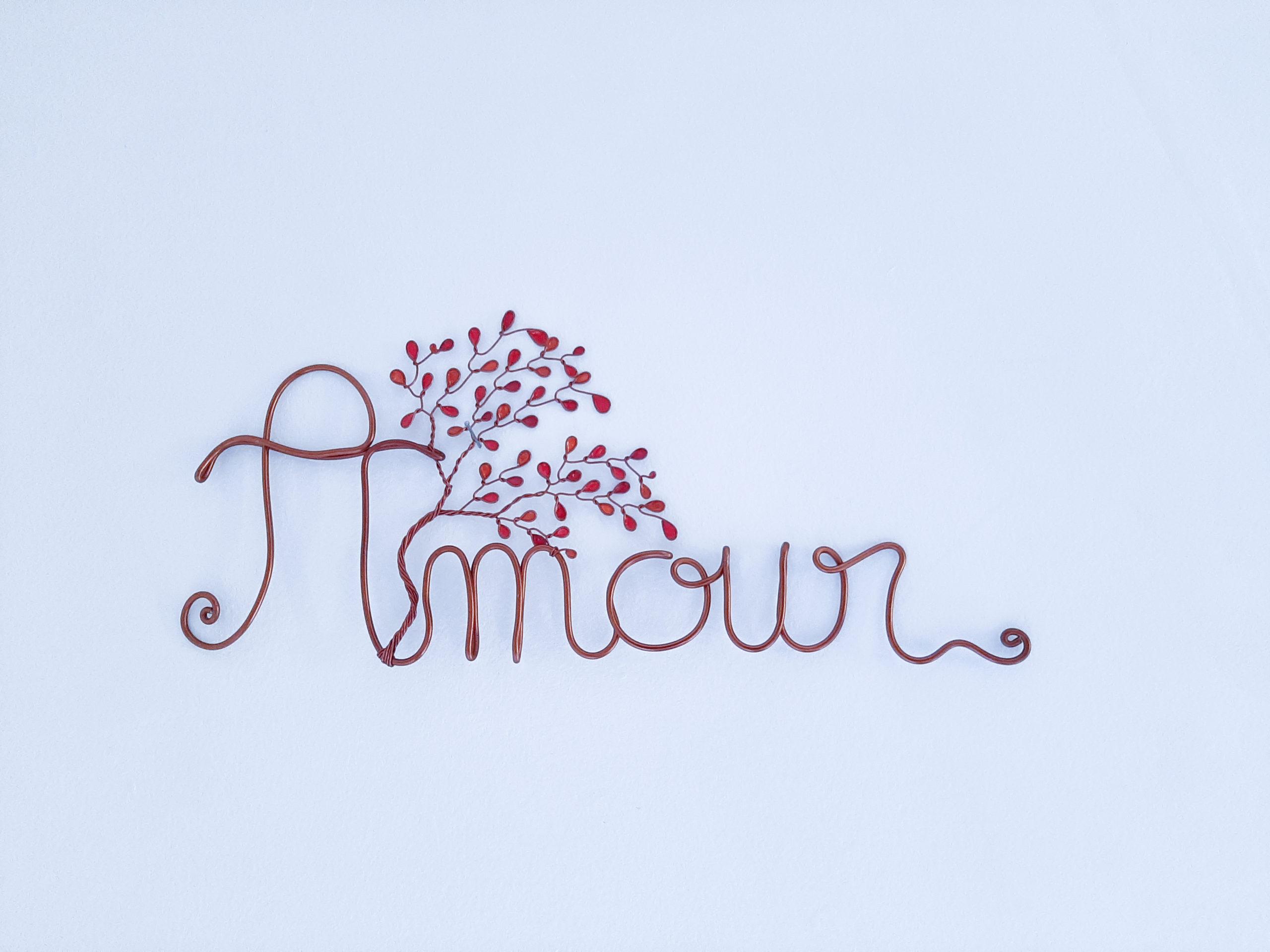"""""""Amour"""" cuivré – Feuilles rouges"""