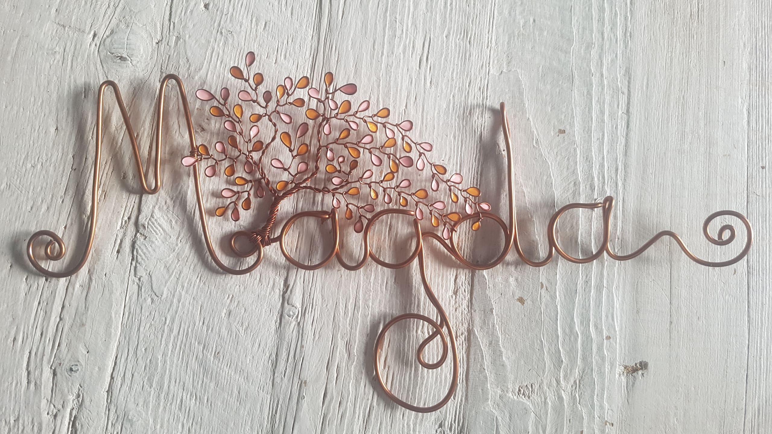 """""""Magda"""" cuivré – Feuilles rose pâle et jaune orangé"""