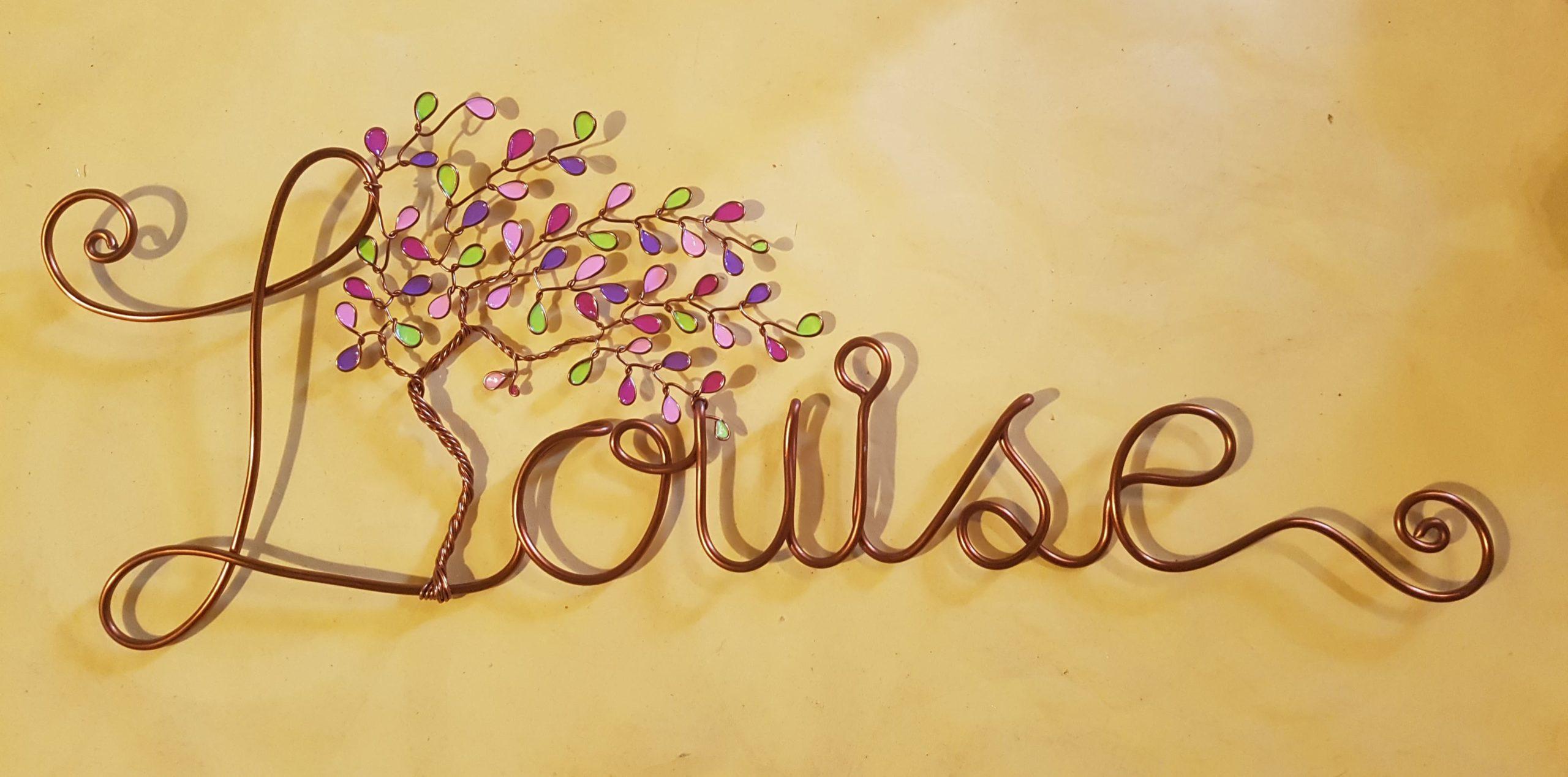 """""""Louise"""" cuivré – Feuilles verte violettes et roses"""