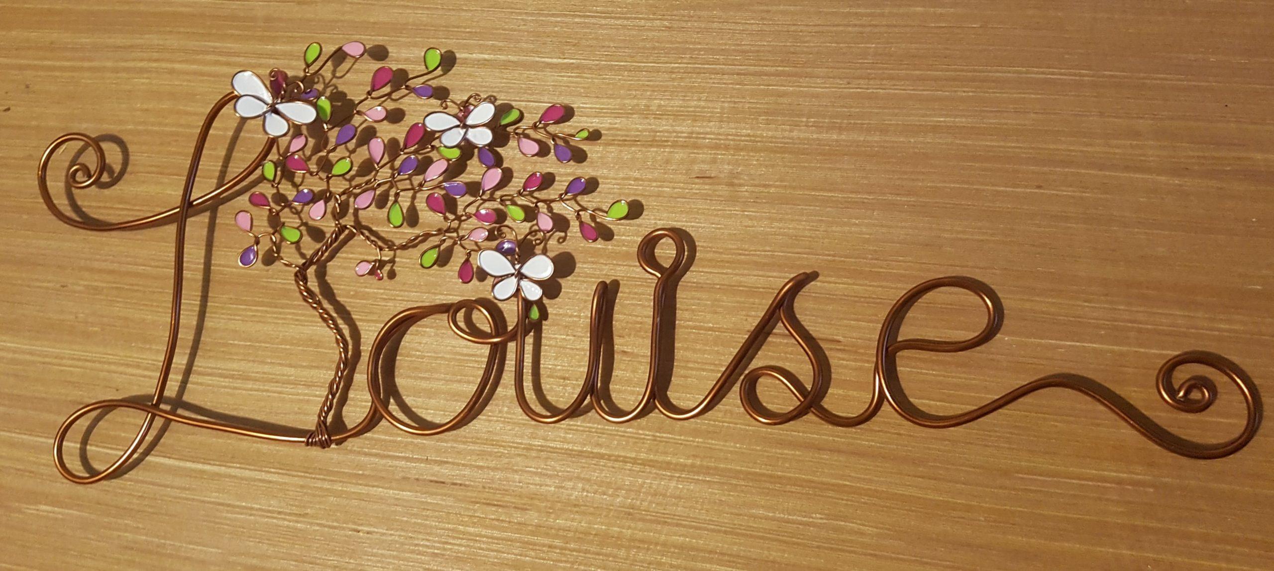 """""""Louise"""" cuivré – Feuilles verte violettes et roses – Papillons blancs"""
