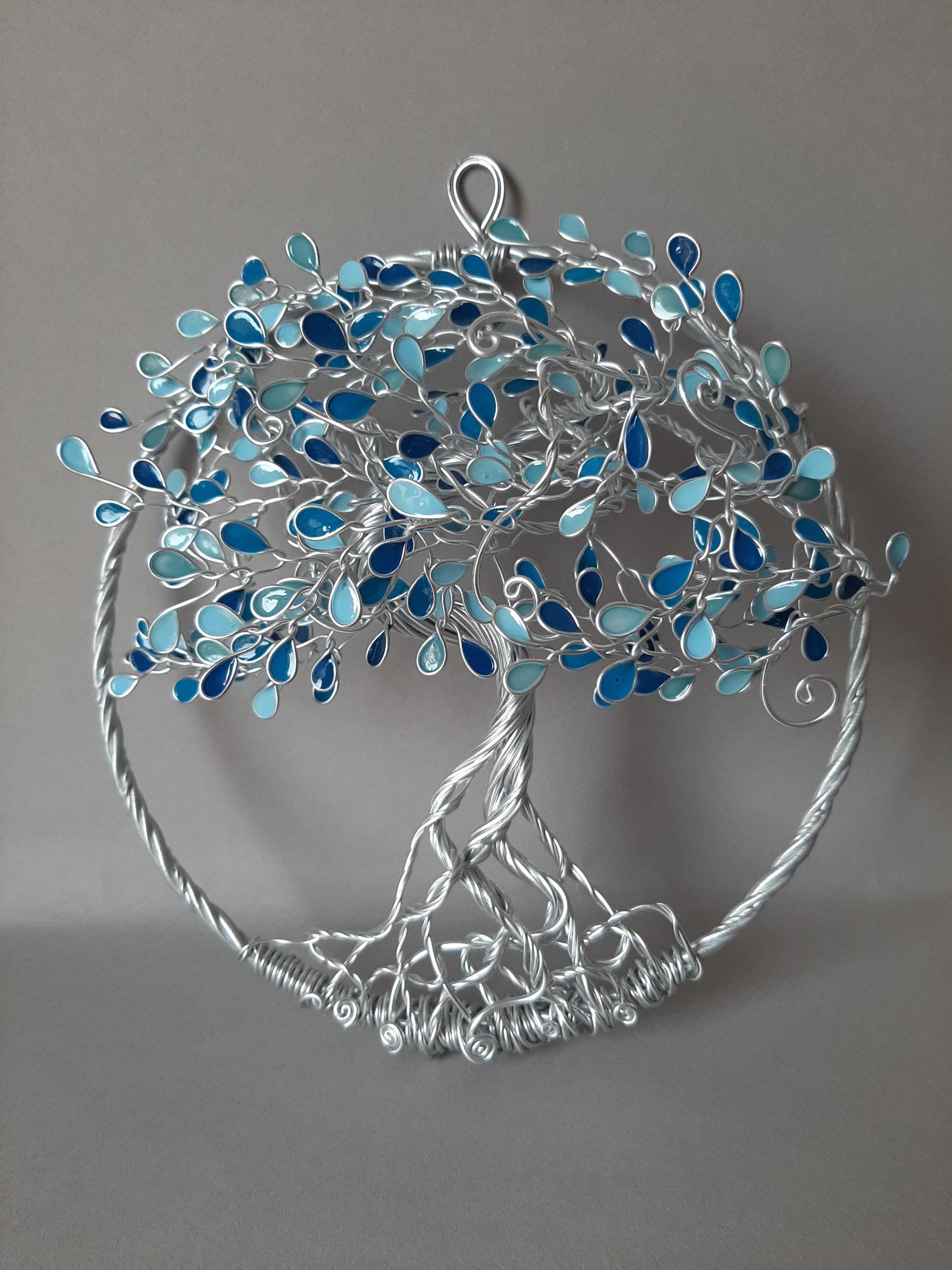 Relief 20cm – Feuilles camaïeu de bleu – Argenté