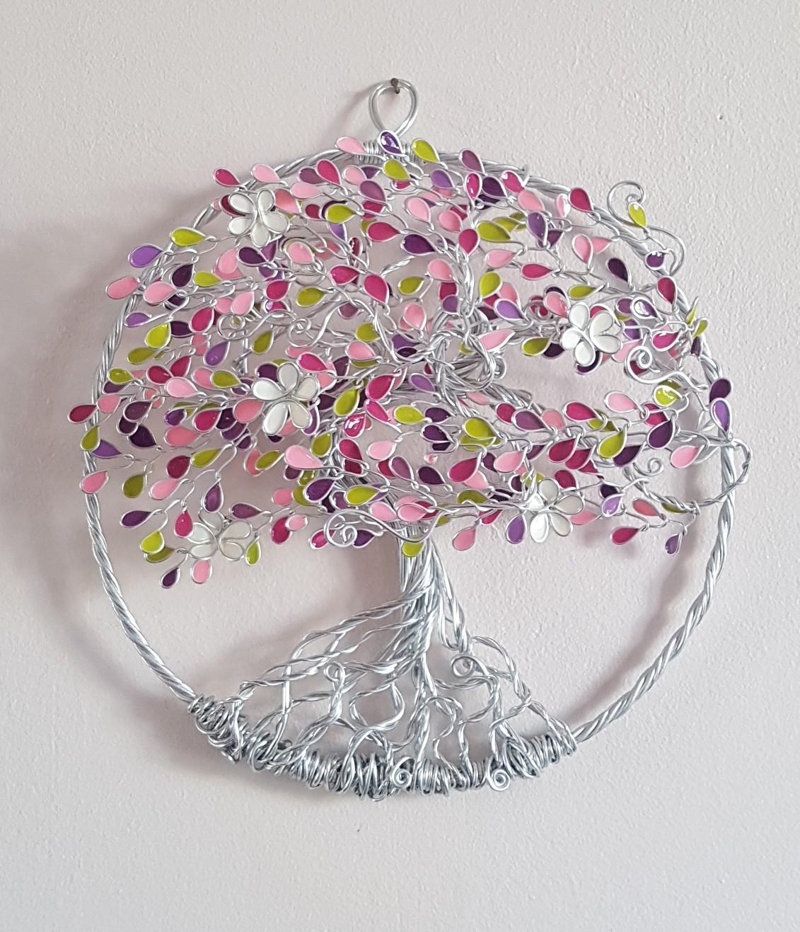 Relief 20cm – Feuilles roses, violettes et vertes- Argenté