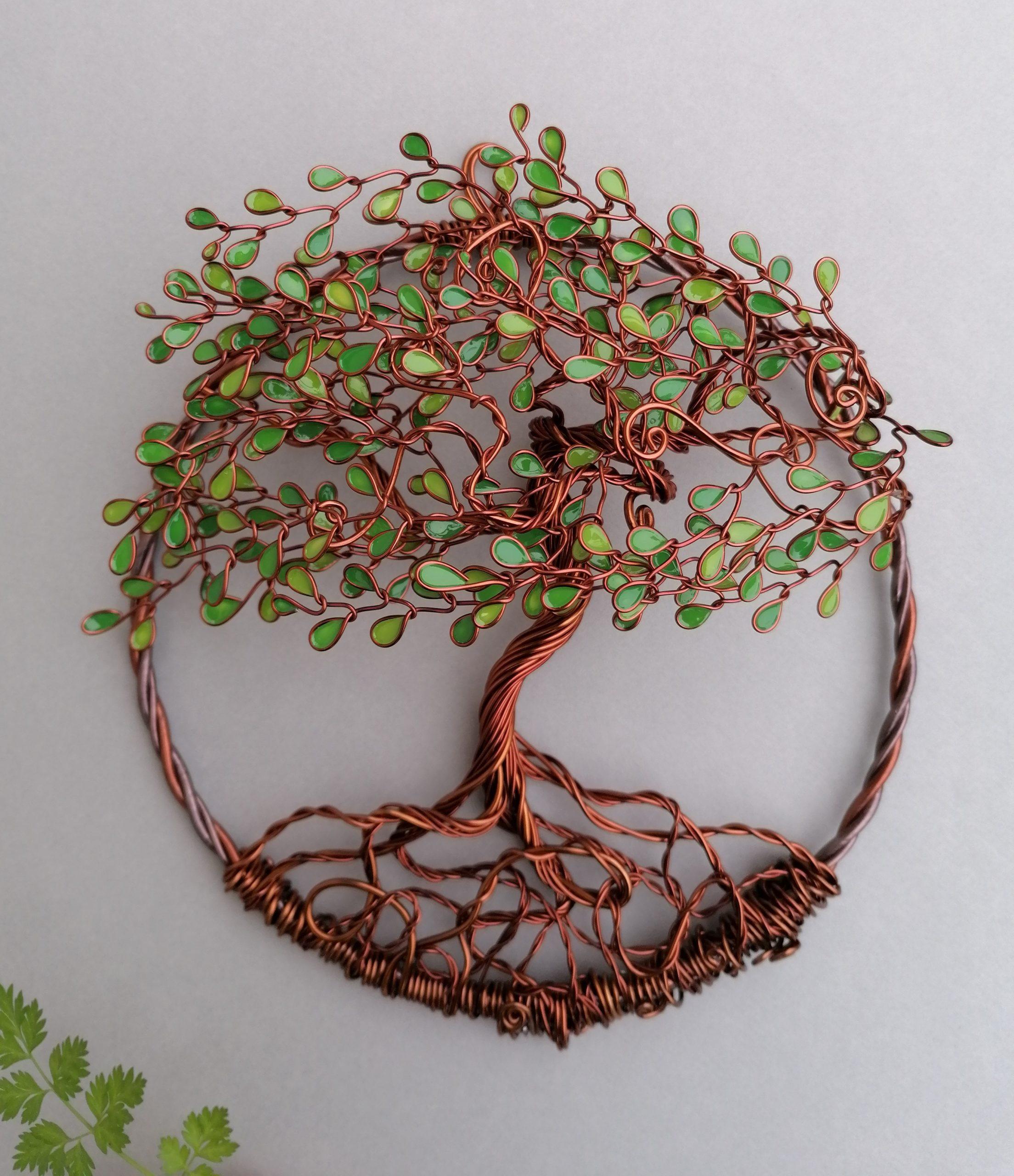 Relief 20cm – Feuilles camaïeu de vert – Cuivré