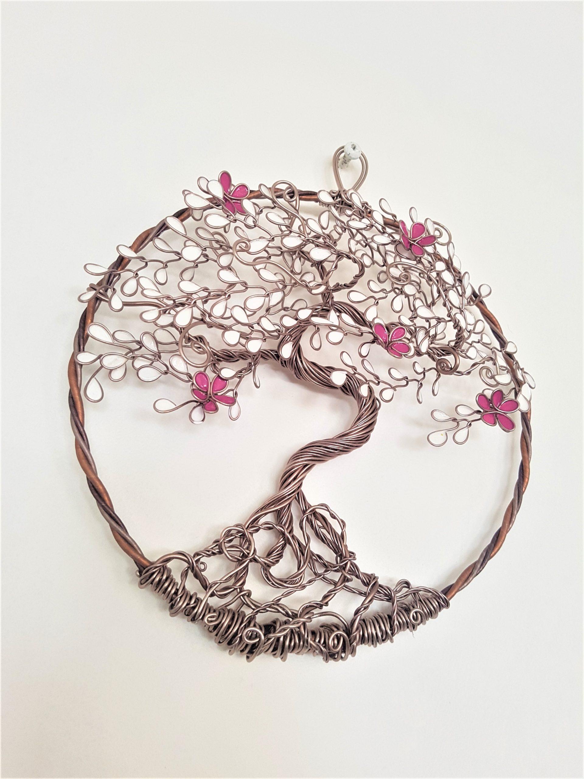 Relief 30cm – Feuilles blanches – Marron clair – Fleurs vieux rose