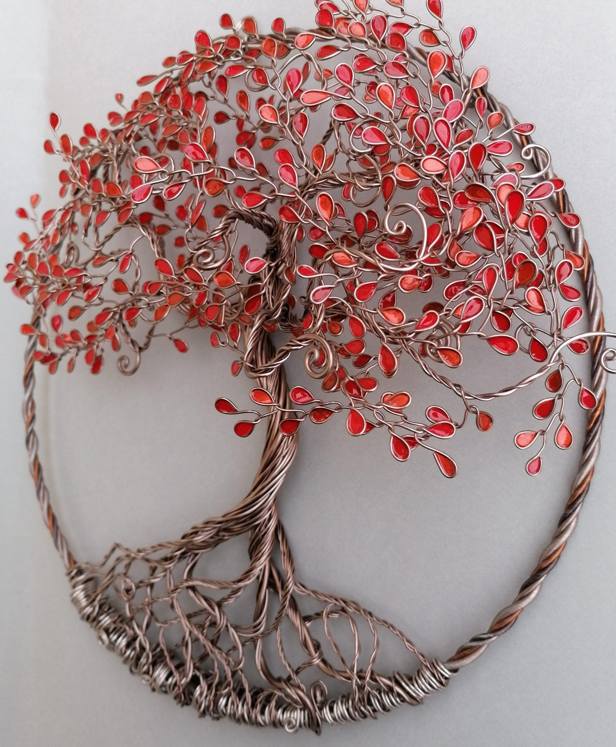 Relief 30cm – Feuilles camaïeu de rouge – Marron clair