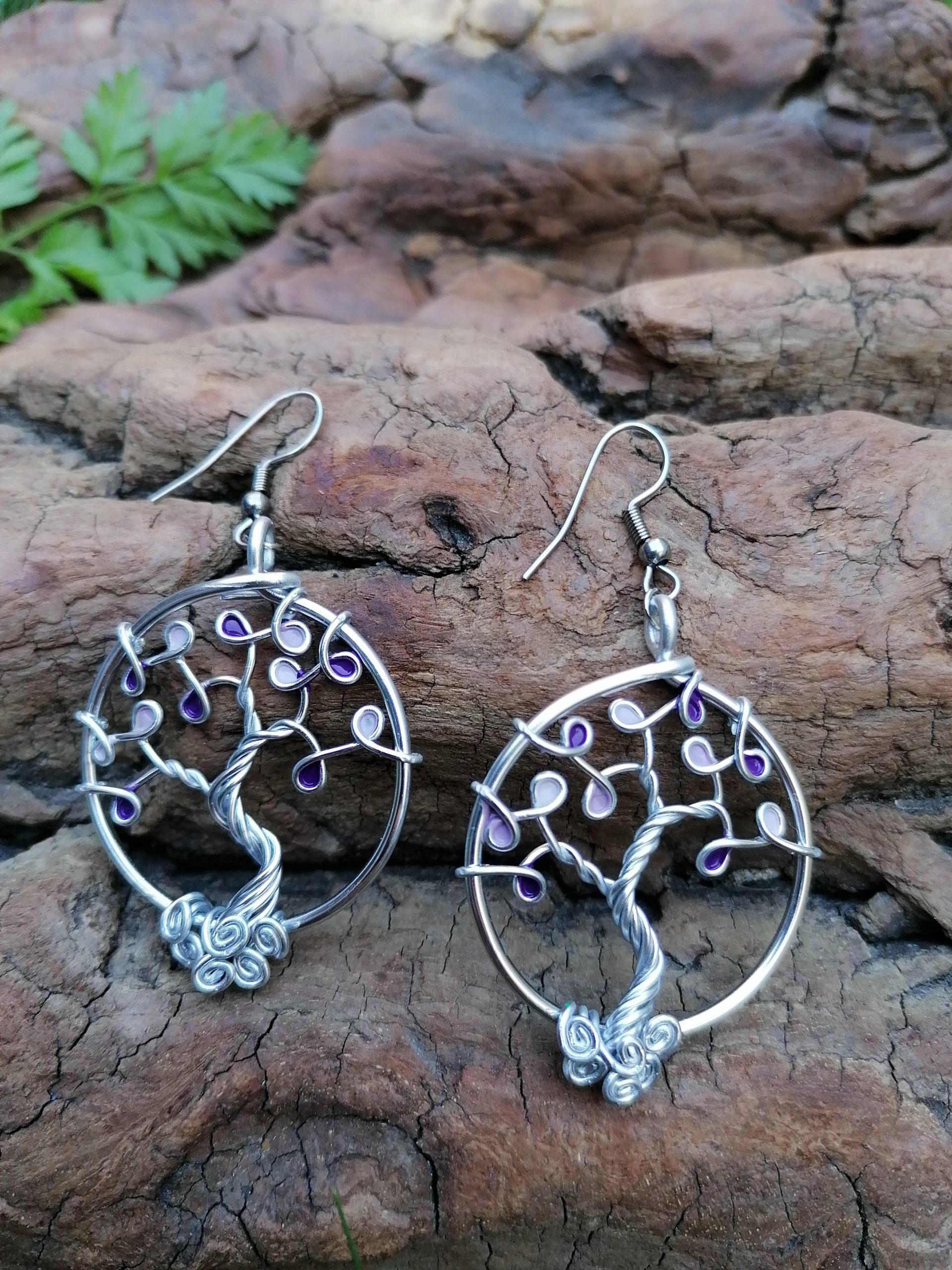 Boucles d'oreilles – Feuilles violettes (camaïeu) – Fil Argenté