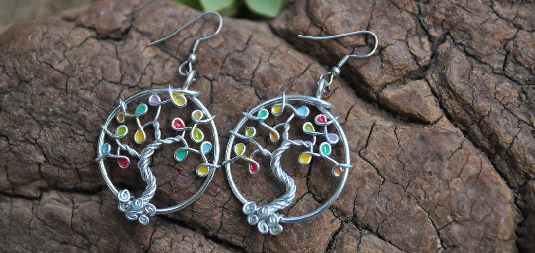 boucles d'oreilles arbre de vie argent