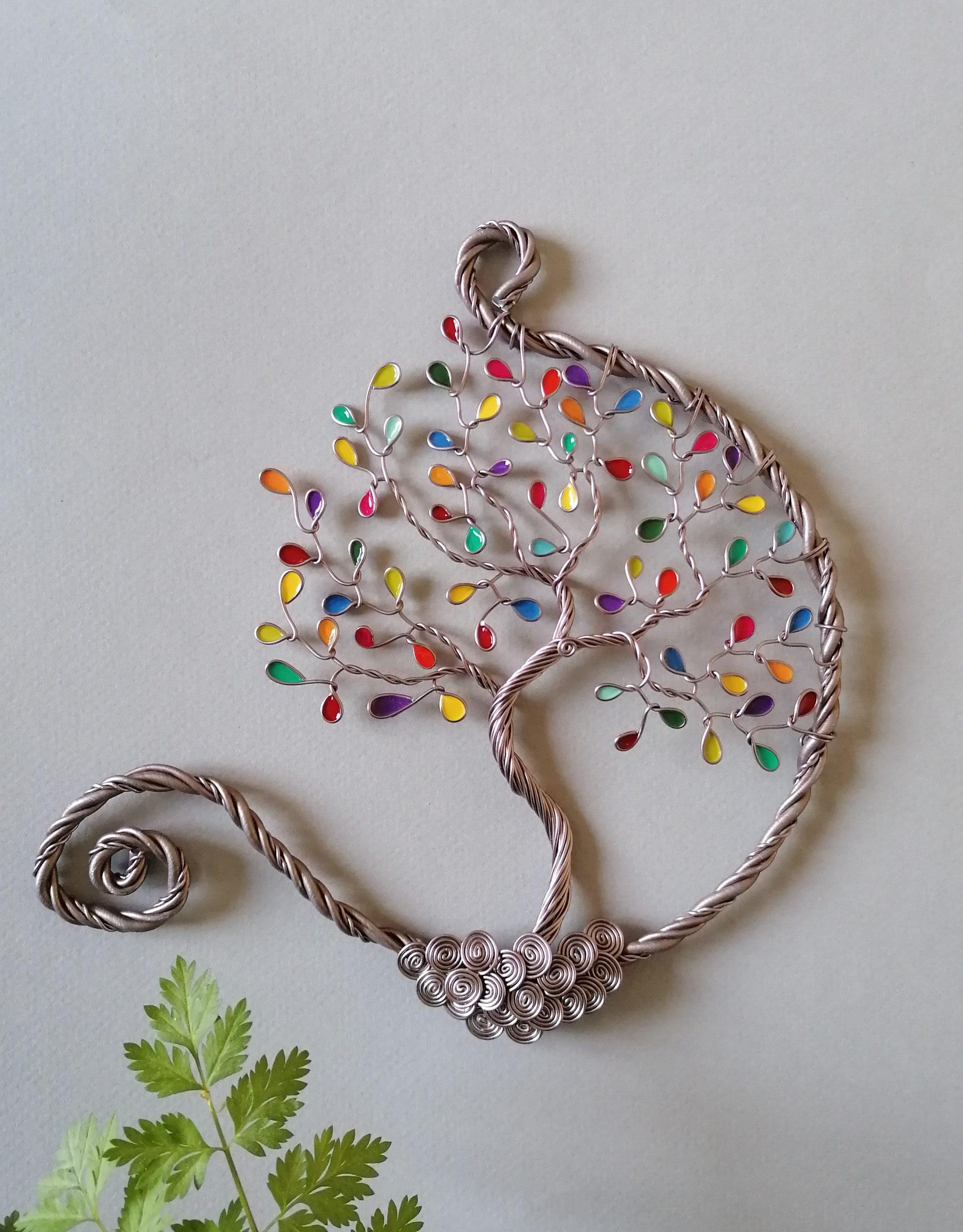 15 cm – Feuilles multicolores  – Marron clair – Ouvert