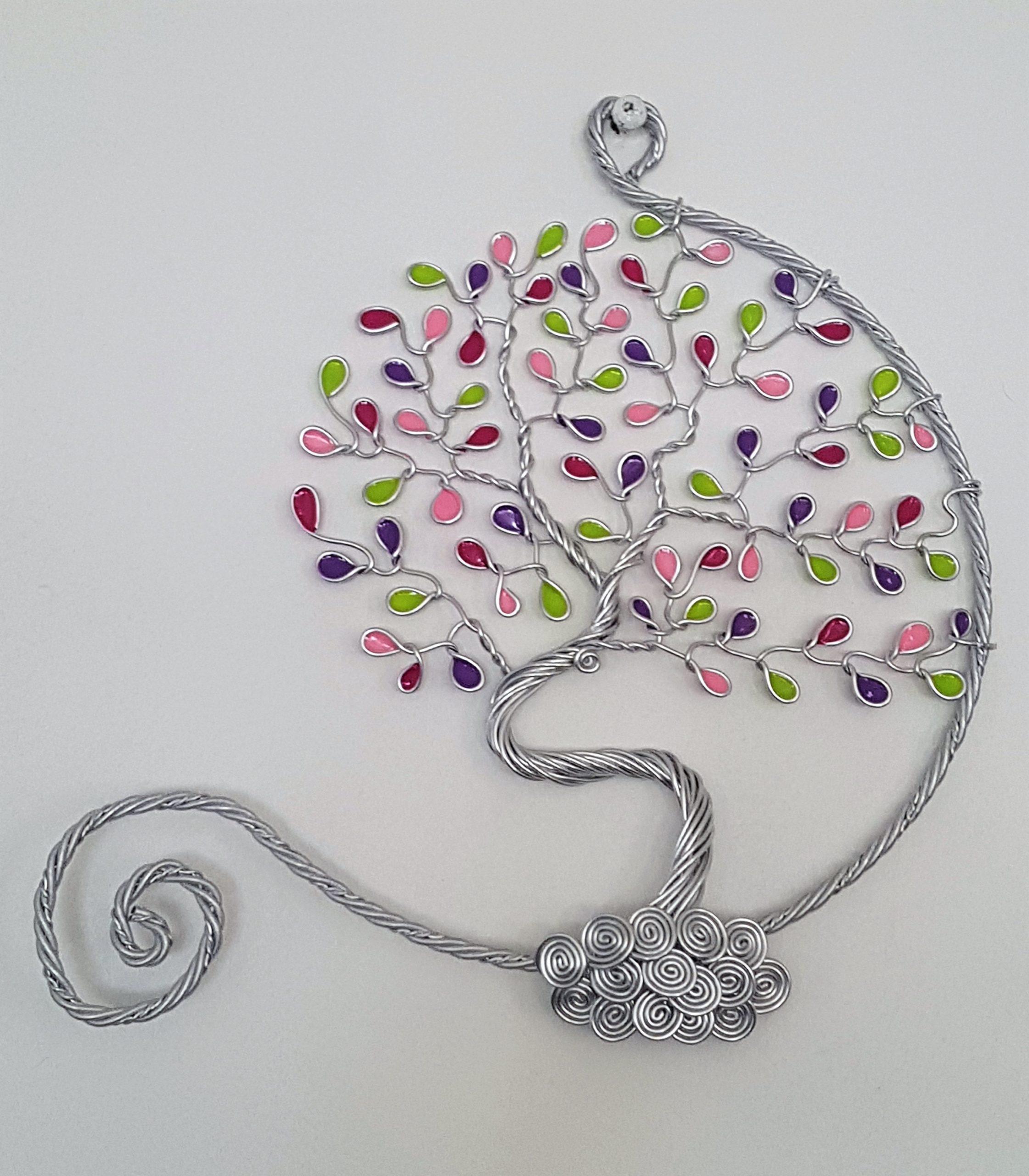 20 cm – Feuilles roses, violettes et vertes – Argenté – Ouvert