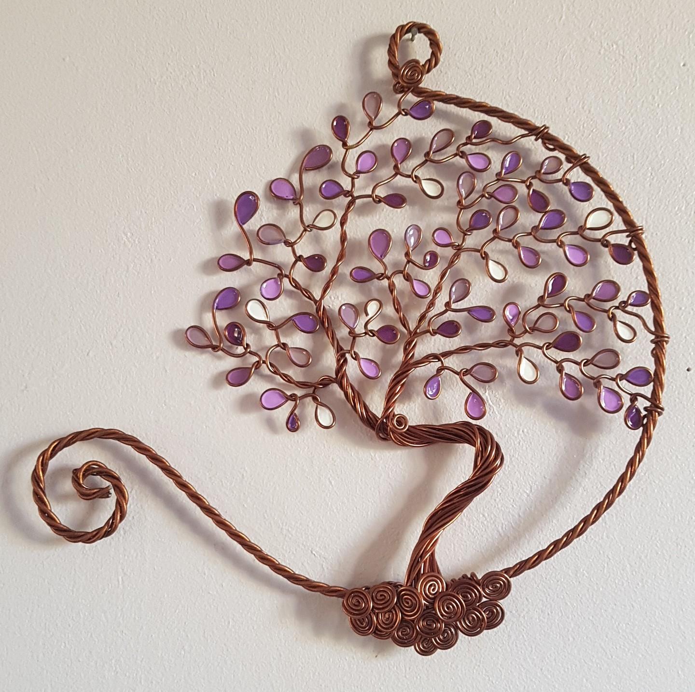 20 cm – Feuilles violettes et blanches – Cuivré – Ouvert