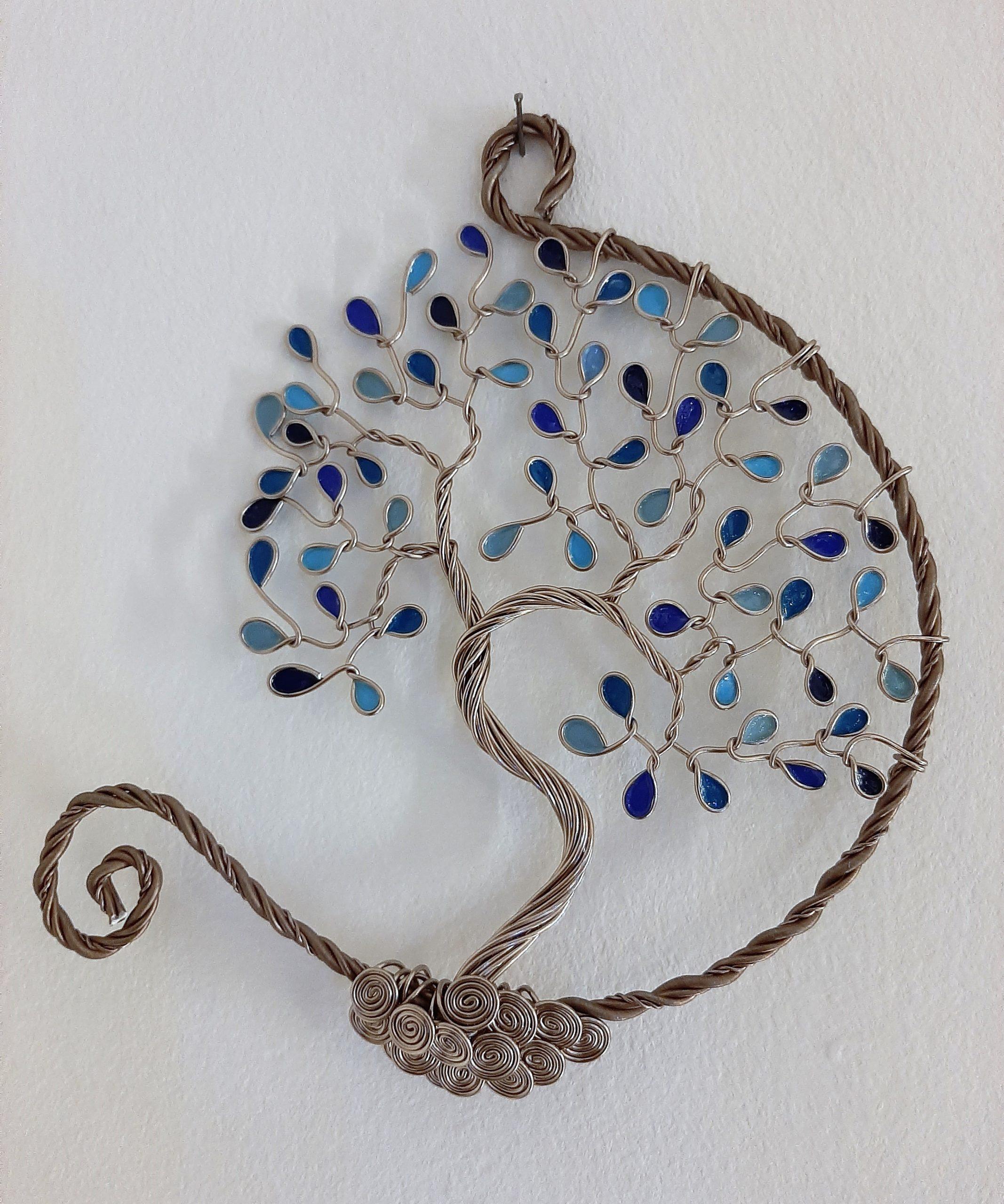 20 cm – Feuilles camaïeu de bleu – Marron clair – Ouvert