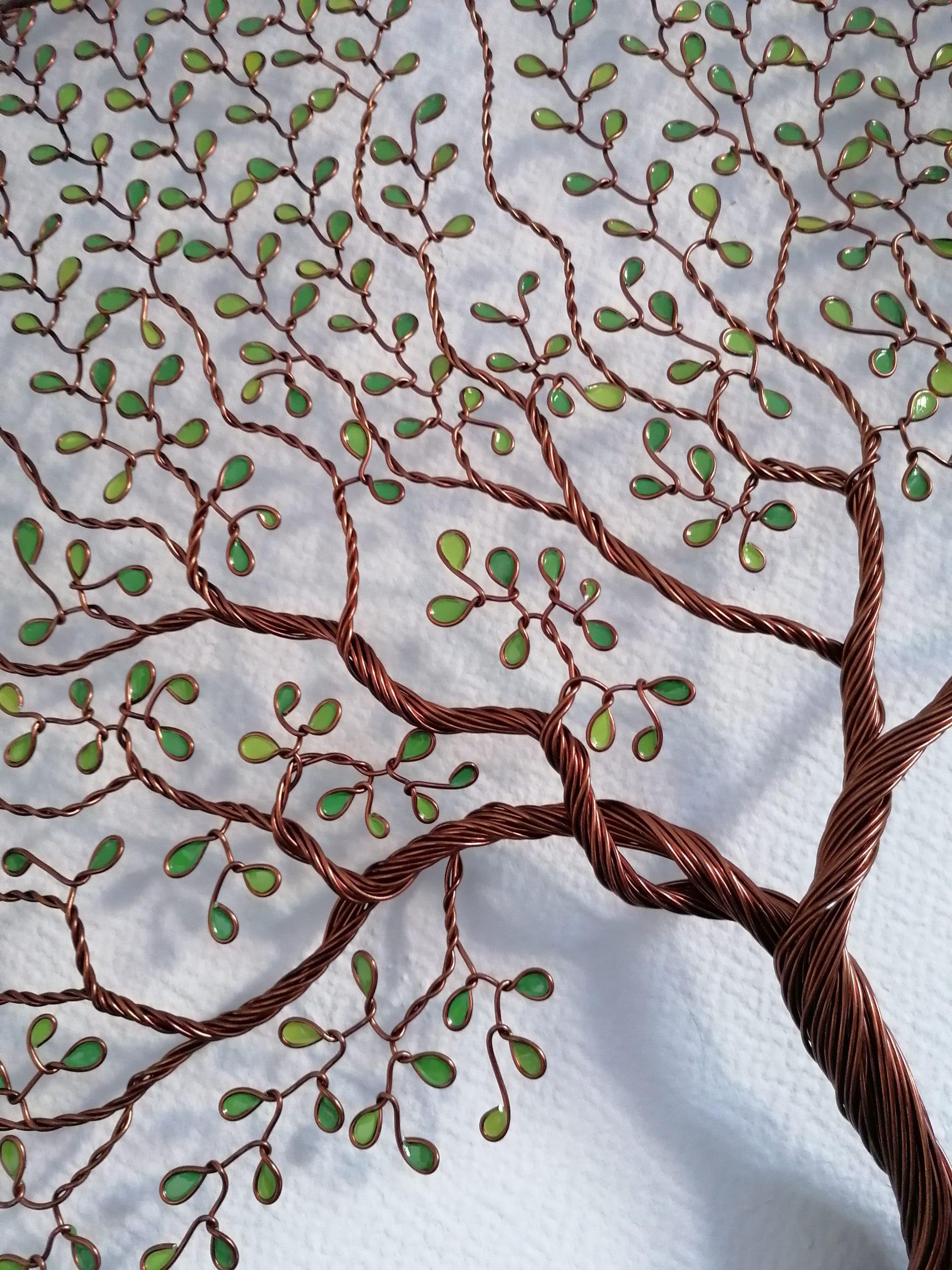 60 cm – Feuilles camaïeu de vert – Cuivré