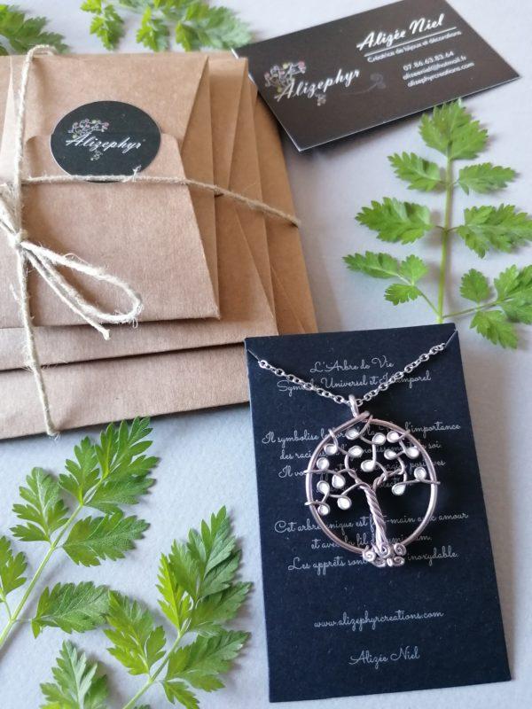 Emballage petit pendentif arbre de vie blanc