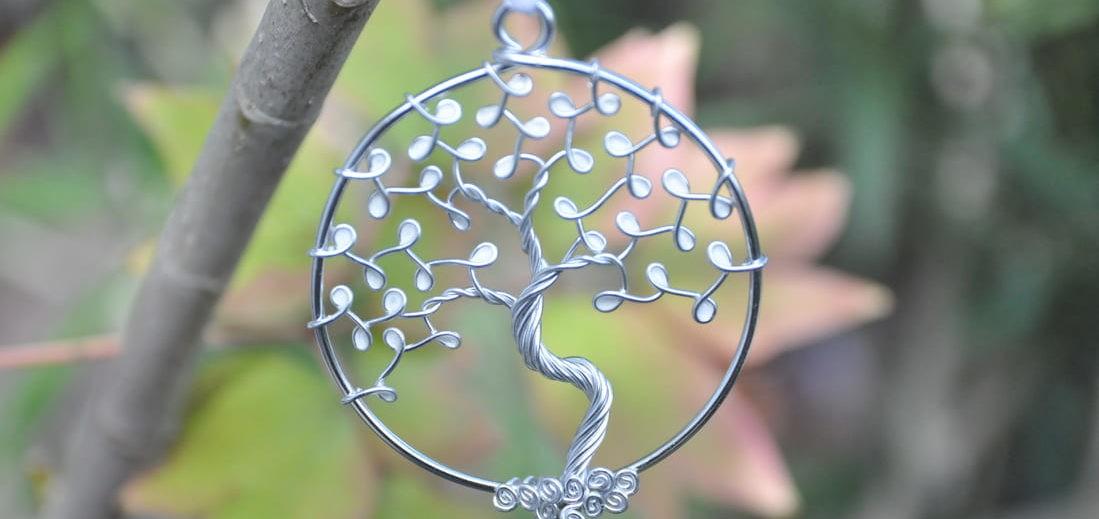 Suspension arbre de vie blanc