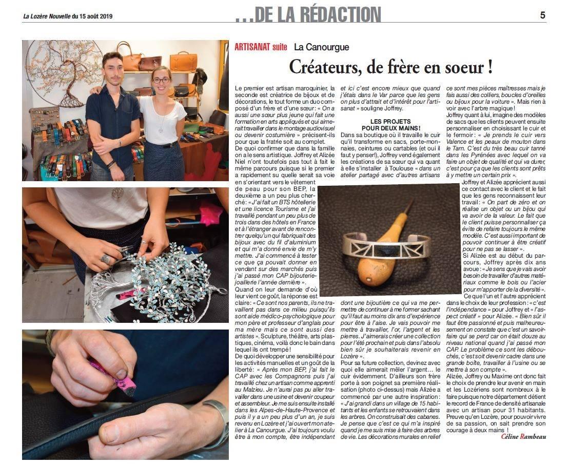 Article Lozère Nouvelle artisanat la canourgue
