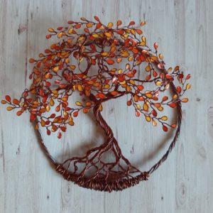 Arbre de vie en relief aux couleurs de l'automne, 20cm, métal cuivré